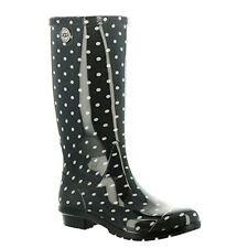 Women Ugg Shaye Black Polka Dot Gloss Tall Patent Rain Boots Wellies Size 9 New