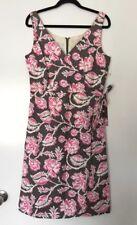 BODEN Linen Blend Grey Pink Floral Wrap Look Dress Size 10 #12501