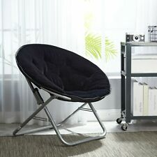CHAIR SAUCER MOON OVERSIZED Folding Padded Seat Adult Faux Fur Stool Round Steel