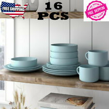 NEW 16 PIECE Dinnerware Service Set Kitchen Dinner Plates Dishes Round Stoneware