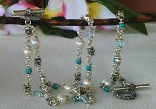 Michael Dawnkins Necklace & Bracelet Set: Pearls, Turquoise & Blue Topaz Silver