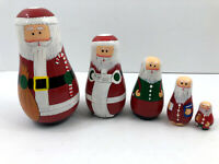 Vintage Christmas Wooden Painted Santa Claus Nesting Stacking Dolls 5 Piece Set