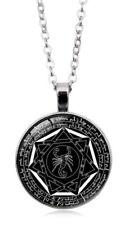 Devils trap Grand Pentacle Wicca Cabochon Pendant & Chain