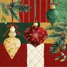 Christmas 20 Paper Lunch Napkins SPLENDID GLASS BALL Red Bauble Mistletoe / D