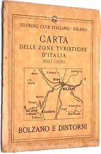"""Carta stradale Touring Club Italiano """"Bolzano Merano e Dintorni"""" anni '50"""