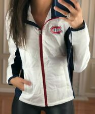 Montreal Canadiens Full Zip Quilted Puffer Jacket, White, Women's S, NHL G-III
