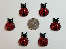 6 Pcs Lot red lady bug Flatback Resin Cabochon Hair Bow Center Supply.