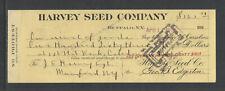 1916 HARVEY SEED COMPANY BUFFALO NY ANTIQUE BANK CHECK
