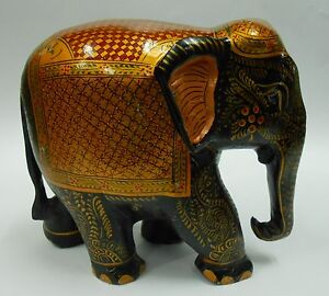 Elephant wooden hand   painted decorative art gold work  home gift articels