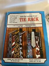 Vintage Fold Flat Neck Tie Hanger Rack w Fold Out Metal Holders