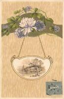 CPA fantaisie - Paysage dans un médaillon, suspendu à des fleurs