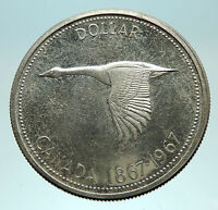 1967 CANADA - CANADIAN Confederation Founding Silver Dollar Coin w GOOSE i76106