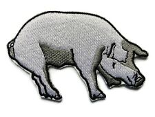 Pig Sow White Gray Embroidered Iron On Applique Patch 3.25 Inches