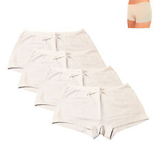 4x Ladies Plain White Boxer Underwear Qualify Knickers Panties Boy Shorts Briefs
