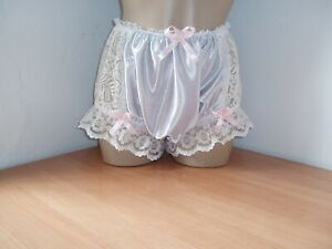 Sissy Satin & Lace Full Briefs Panties Knickers Silver & Ivory