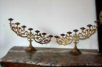 Grande paire de rampes d' autel en laiton doré XIXe Siècle