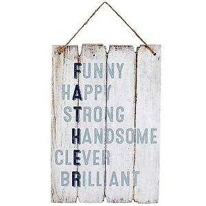 Father Wood Hanging Sign Wooden Vintage Painted Funny Happy Fathers Day present