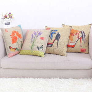"""French Country Butterfly Lavender High Heel Throw Cushion Case Pillow Covers 18"""""""