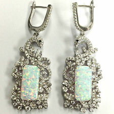 LARGE DECO STYLE WHITE GILSON OPAL PEACOCK EARRINGS 925 STERLING SILVER