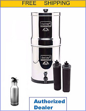 Big Berkey Water Filter Purify w 2 Black Filters and Free Stainess Steel Bottle