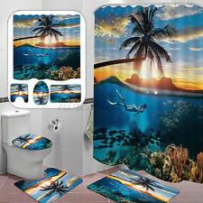 4pcs Beach Bathroom Set Shower Curtain+ Toilet Seat Cover+ Bath Mat+Non-Slip