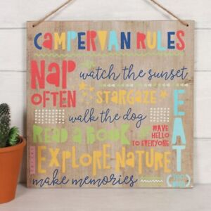 Campervan Rules Hanging Wooden Sign Caravan Camping Holiday Must Do's