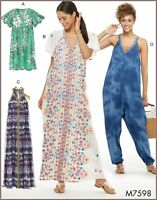 M7598 Sewing Pattern McCall's 7598 Loose-Fitting V-Neck Dresses Jumpsuit EASY