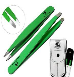 Professional Green Eyebrow Tweezers Hair Beauty Slanted Stainless Steel Tweezers