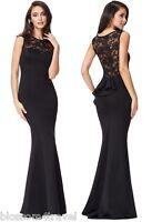 Goddiva Black Lace Frill Fishtail Maxi Evening Dress Prom Ball Party RRP £62