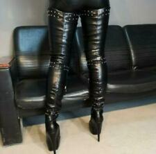 Punk Studded Ladies Thigh High Over Knee Boots Leather Catwalk Boots Plus Size L