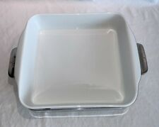New listing All Clad serving dish, square white porcelain in stainless steel trivet