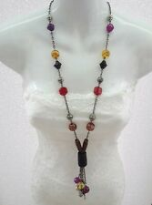 Chunky Statement Long Necklace Red Black Amber Purple Beads with Tassel Pendant