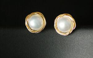 D12 Boucles D'Oreilles Perle D'Eau Douce Blanc Avec Or Fil Enroulé autour De