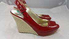 GUESS GLORIANNA Open Toe Platform Espadrille Wedge Slingbacks 7.5 M Red Leather