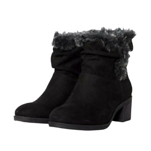 Womens Block Heel Boots Size 5 Wide Fit Black Ankle Mid Heeled Round Toe RRP £35