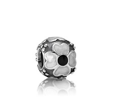 Authentic Pandora White and Black Enamel Daisy Charm.***RETIRED***
