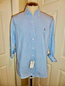 NWT Ralph Lauren Men's Blue & White Gingham Button Down Shirt Size MEDIUM M