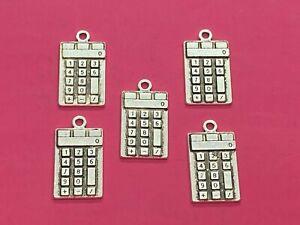 Tibetan Silver Maths Calculator Charms - 5 per pack - School/Maths