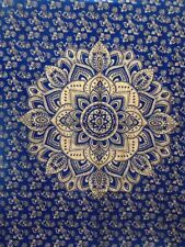 Cotton Blue Gold Wall Hanging Handmade Flower Ombre Mandala Tapestry Poster Art