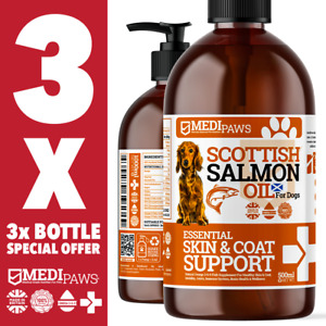 3x 500ml MediPaws® Salmon Oil For Dogs   100% Fish Oil   Omega 369   1500ml