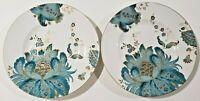 "222 Fifth Eliza Teal Porcelain TWO Salad Plates 8-3/4"""