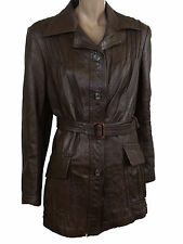 LADIES FAUX LEATHER JACKET in BROWN COLOR SIZE 14 (D-27)