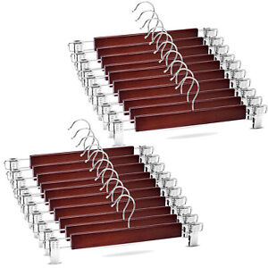 Smooth Cherry Wood Hanger Has Clips for Skirt/Pants 360°-Swivel Hook Set of 20