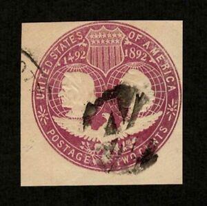 US 1893 #U349 - Violet 2c Columbus & Liberty Cut Square Masonic Fancy Cancel