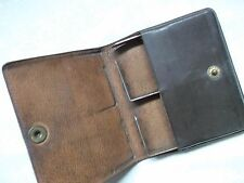 VINTAGE RETRO REAL LEATHER CIGARETTE CASE WALLET 1950s 1960s DARK BROWN MOD