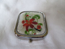 Mother of Pearl With Red Lily Flowers  & Leaves Floral Compact With Mirror