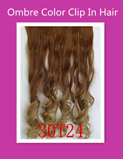 2 Tone Curly Ombre Color Clip In Hair Piece Hair Extensions Brown To Ash Blonde