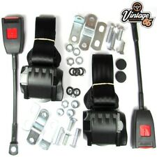 Classic Rover Front Pair Fully Automatic Inertia Black Seat Belt Kit E Approved