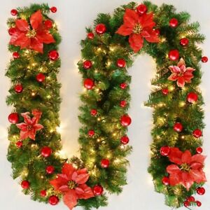 Christmas Garland Rattan Door Wall Decoration with Lights 2.7m Xmas Home Decors