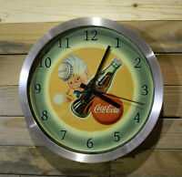 Coke Coca Cola Sprite Boy Wall Clock Large 12 inch Non Ticking Sweep Hand Glass